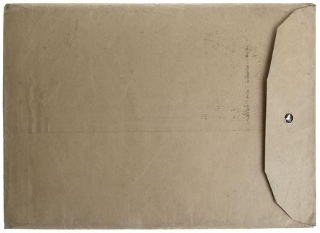 old envelope: Vintage closed manilla envelope on white isolated background.