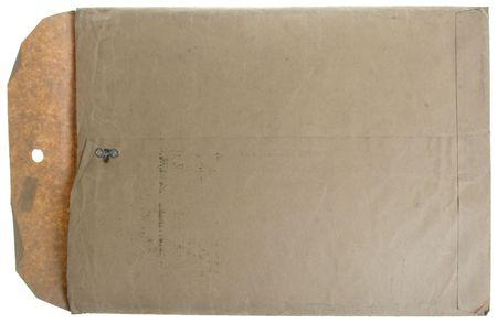 old envelope: Vintage white manilla open envelope isolated on white.  Stock Photo