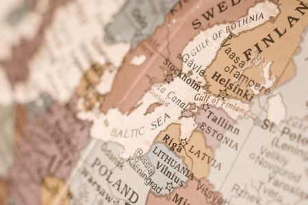Detail of the east Baltic; Finland, Estonia, Latvia, Russia.