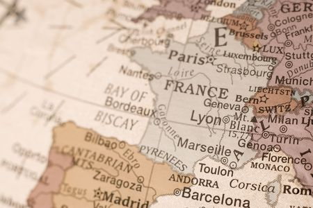 france map: Detail shot of France on an English globe.
