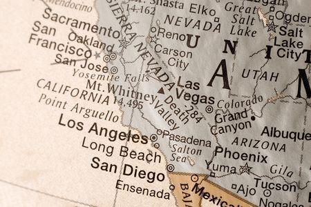 nevada: Detail shot of a globe, showcasing California.
