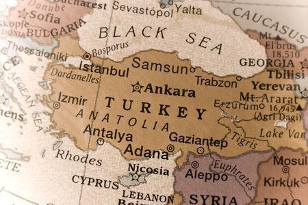 Macro of a detail on a globe of Turkey.  Foto de archivo