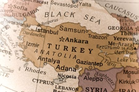 anatolia: Macro of a detail on a globe of Turkey.  Stock Photo