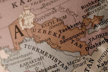 Detail on a globe of Uzbekistan