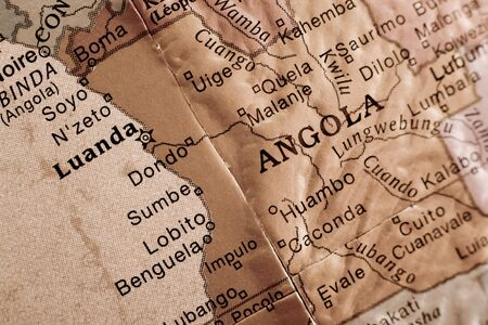 Detail of an english glove focusing on Angola. 写真素材