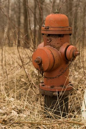 undeveloped: A rusted fire hydrant abandoned in an undeveloped subdivision. Stock Photo