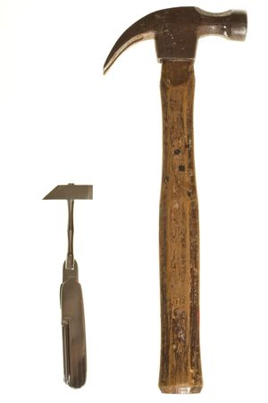 A pair of hammers isolated on white.