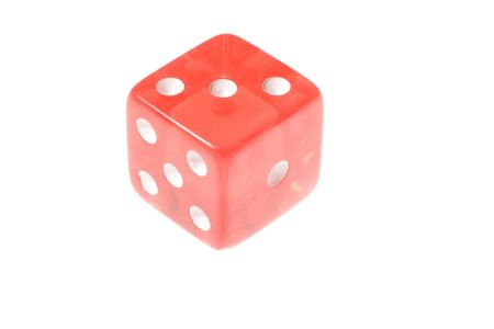 Translucent red die isolated on white.  Banco de Imagens