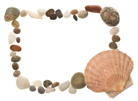 beachcombing: A tasteful shell and beach pebble border, ideally suited to scrapbooking.