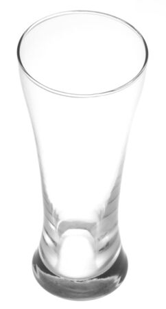 A pint glass of beer isolated on a white background.