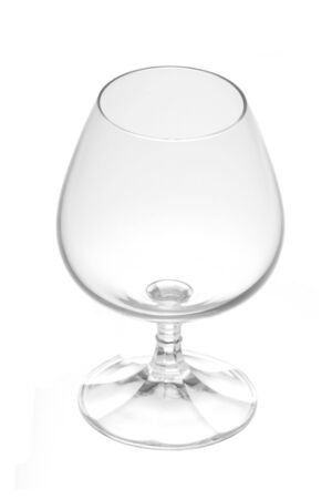 Empty brandy glass isolated on a white background.