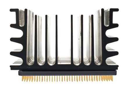An imposing black heat sink atop a microprocessor isolated on a white background.