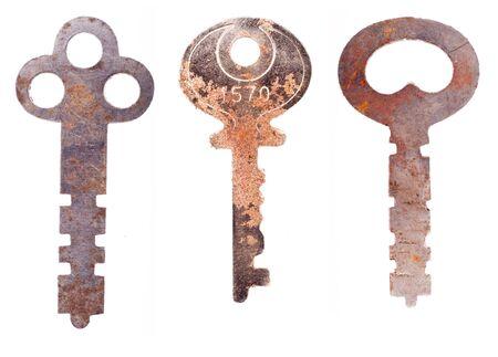 Three worn rusty skeleton keys. 写真素材