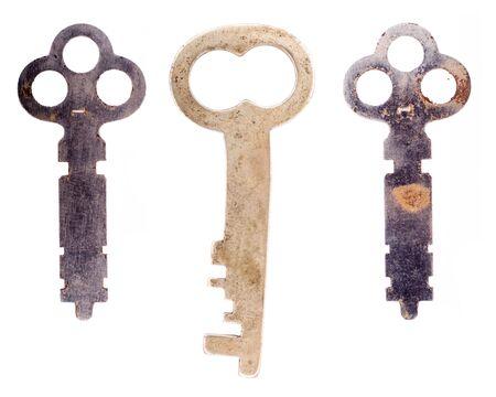 Three odd keys isolated on a white background.