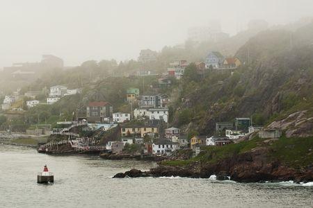 Looking back into St. John's, shrouded in Fog.