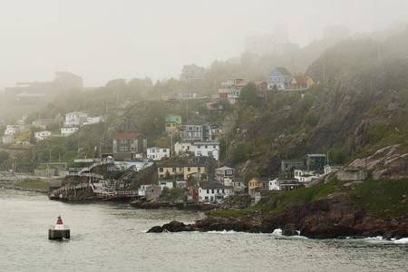st: Looking back into St. Johns, shrouded in Fog. Stock Photo