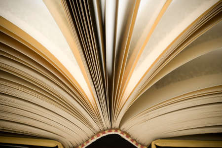 yellowing: Macro photo of book with yellowing pages Stock Photo