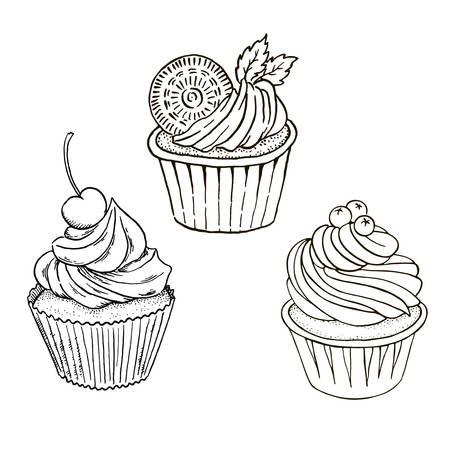 Tortas Y Cupcakes Blanco Y Negro De Patrones Sin Fisuras