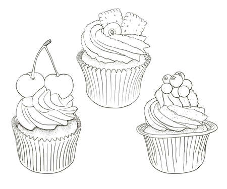 Hand drawn vector black and white outline cupcakes, good for coloring