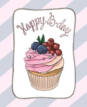 Cupcake Birthday Card Royalty Free Cliparts Vectors And Stock