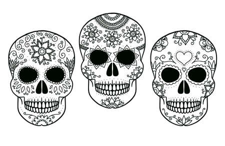 Hand drawn black and white outline day of the dead skulls. Illustration