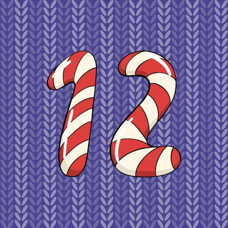 Hand drawn vector number twelve for Christmas advent calendar.