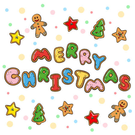 Hand drawn vector doodle gingerbread merry christmas greeting card isolated on white background
