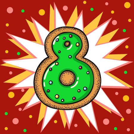 Hand drawn vector number eight for christmas advent calendar