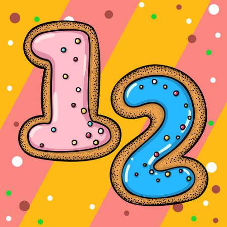 Hand drawn vector number twelve for christmas advent calendar