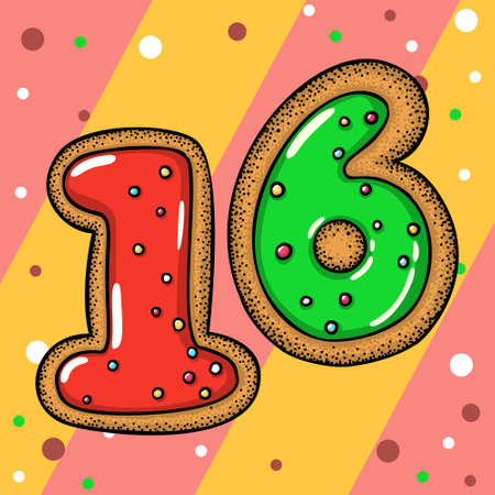 Hand drawn vector number sixteen for christmas advent calendar Illustration