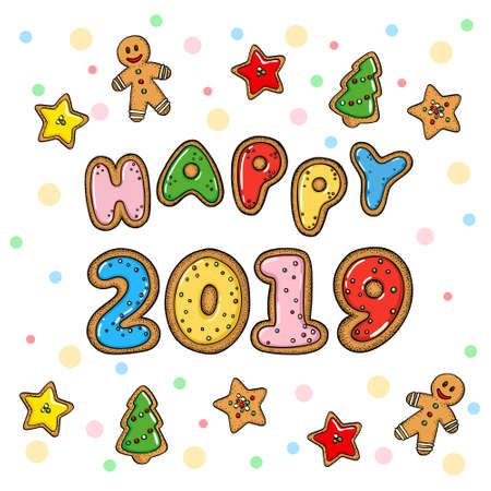 Hand drawn vector doodle new year greeting card
