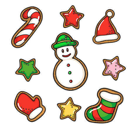 Hand drawn vector gingerbread cookie set Illustration