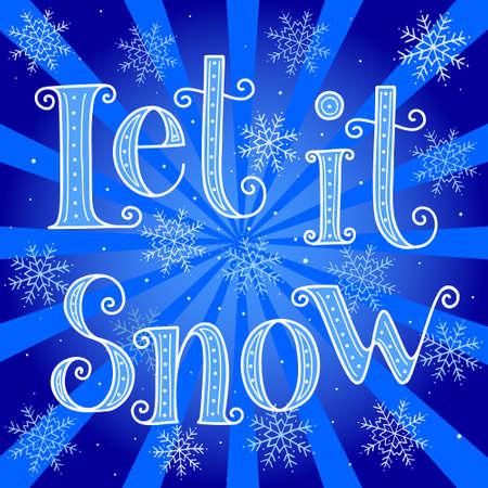 Let it snow - hand drawn vector christmas greeting card Иллюстрация