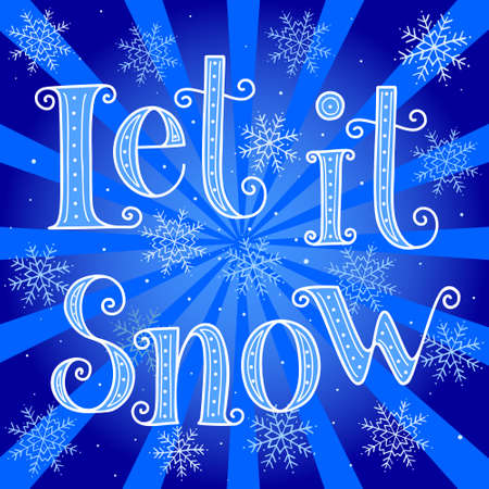 Let it snow - hand drawn vector christmas greeting card Illustration