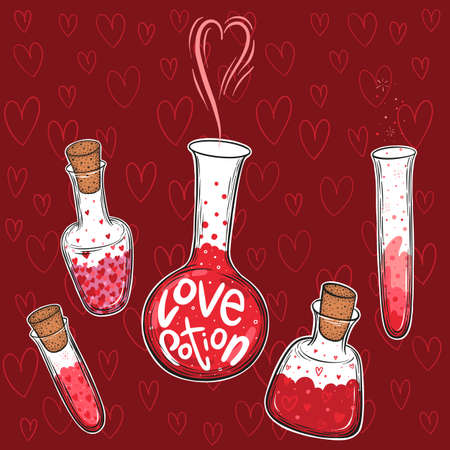 Hand drawn vector set of glass bottles filled with love elixir