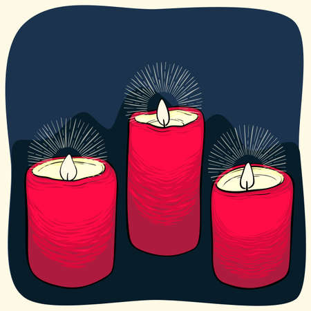 Hand drawn vector three red burning candles isolated on dark blue background