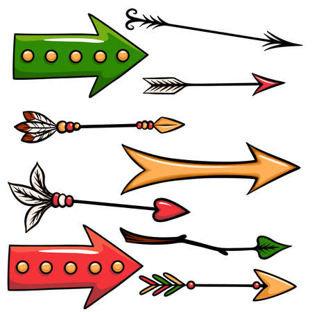 Hand drawn vector set of cartoon arrows isolated on white background