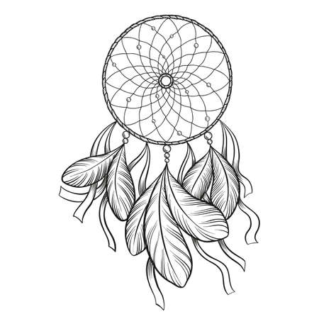 Hand drawn vector black outline dream catcher isolated on white background. Good for coloring.