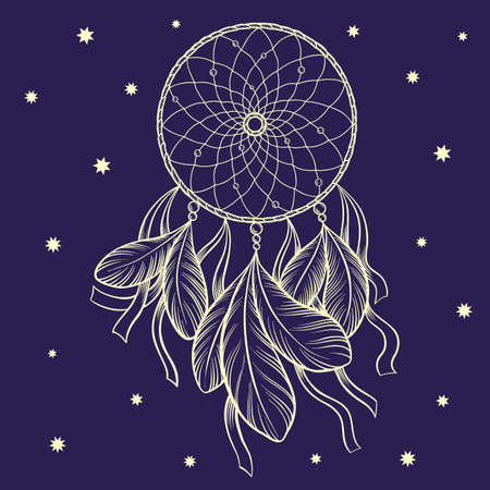 Hand drawn vector outline dream catcher surrounded by stars. Isolated on dark blue background.