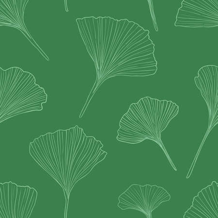 Hand drawn vector outlone ginkgo leaves seamless pattern isolated on green background. Good for fabric, wallpaper or package.