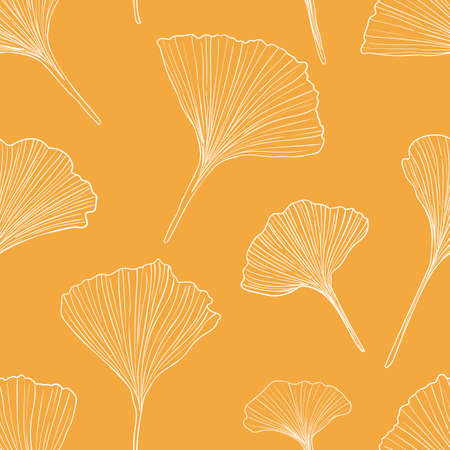 Hand drawn vector outline ginkgo leaves seamless pattern isolated on yellow background. Good for fabric, wallpaper or package.