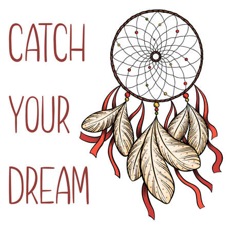 Hand drawn vector dream catcher with red ribbons and catch your dream saying isolated on white background.