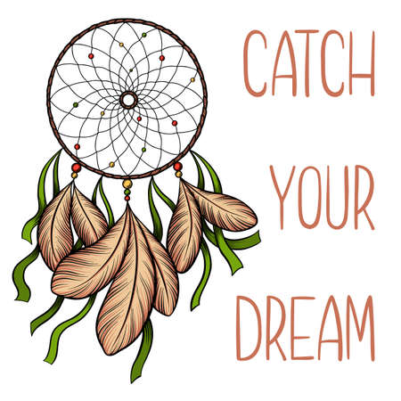 Hand drawn vector dream catcher with green ribbons and catch your dream saying isolated on white background.