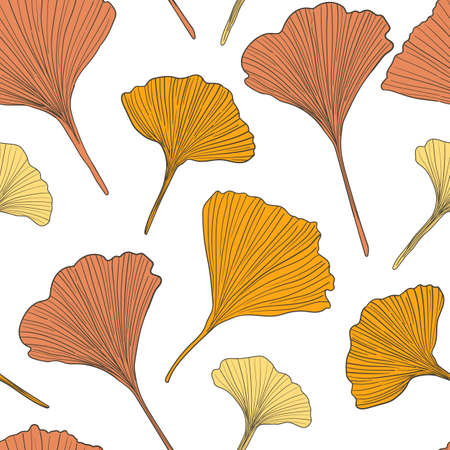 Hand drawn vector autumn ginkgo leaves seamless pattern isolated on white background. Good for fabric, wallpaper or package.