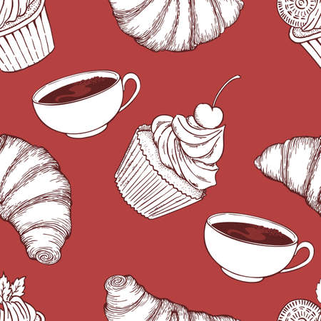 Hand drawn vector doodle cups, croissant and cupcakes seamless pattern.