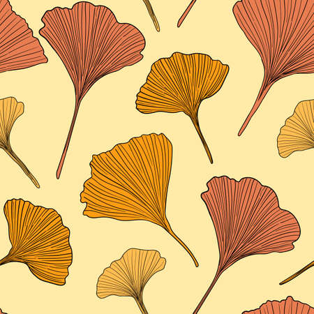 Hand drawn vector autumn ginkgo leaves seamless pattern isolated on yellow background. Good for fabric, wallpaper or package.
