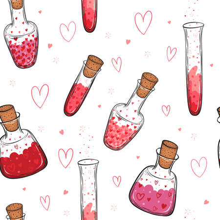 Hand drawn vector seamless pattern of glass bottles filled with love elixir isolated on white background.