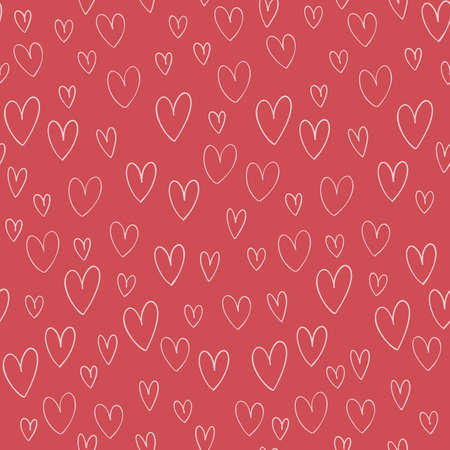 Hand drawn vector seamless pattern with hand drawn doodle hearts isolates on pink background. Ilustrace