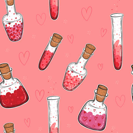 Hand drawn vector seamless pattern of glass bottles filled with love elixir isolated on pink background