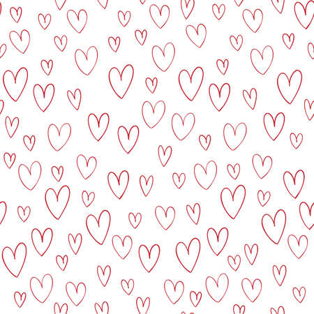 Hand drawn vector seamless pattern with hand drawn doodle hearts isolates on white background. Ilustrace